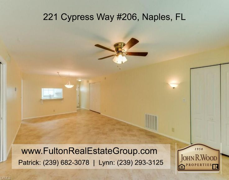 FOR SALE: 221 Cypress Way, Unit 206, Naples, Florida. $189,000.      http://221CypressWay.FultonRealEstateGroup.com      To say this 2 bedroom, 2 bath, located at St. Andrews Manor in Palm River that has been recently renovated - is move-in ready - is an understatement. As of one year ago, there are new floors, granite countertops, appliances (dishwasher, fridge, microwave, range, washer, dryer, water heater, and HVAC)! Western exposure with golf course views, this unit has much to offer.