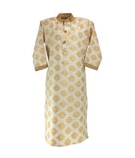 Printed Cotton Women's Kurta - Beige