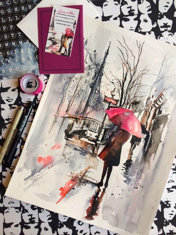 Paris Travel Red Umbrella Watercolor Illustration …