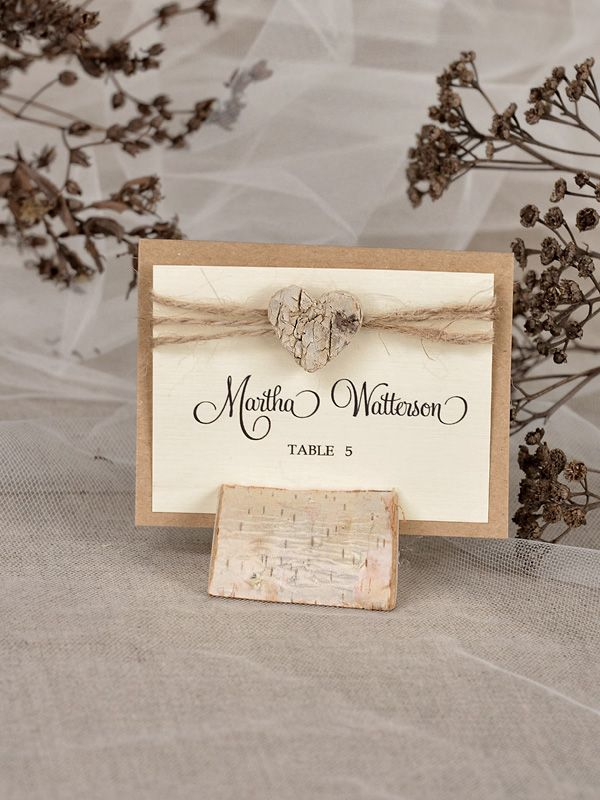 silver heart wedding place card holders%0A PLACE CARDS rustic