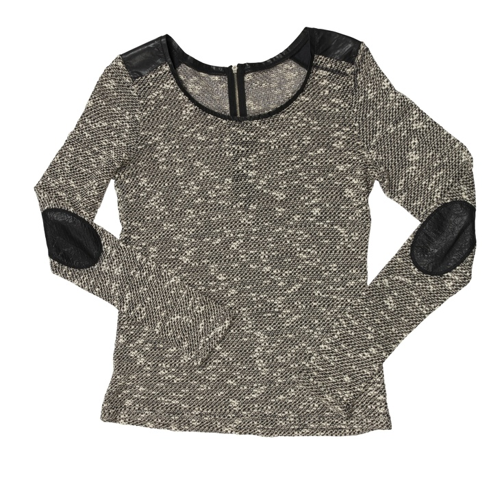 Knit with leather elbow detail
