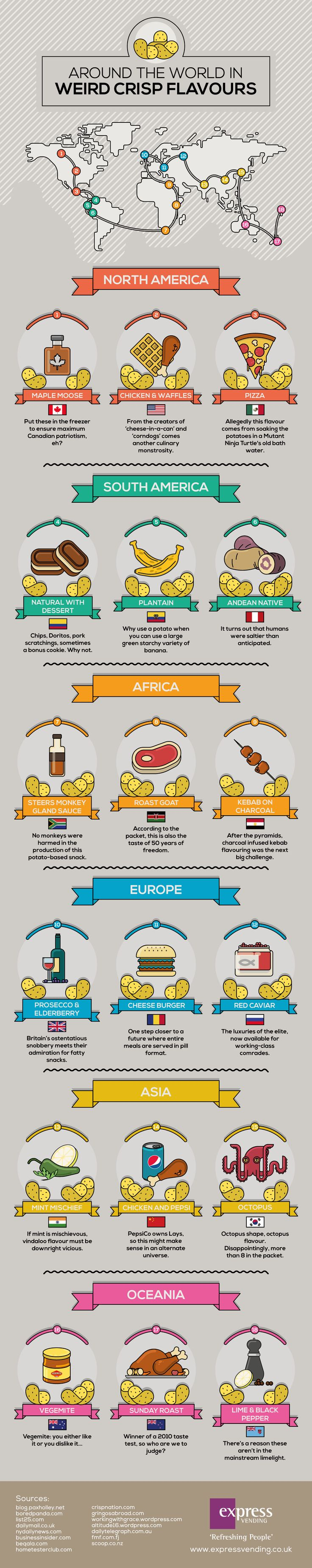 Around the World in Weird Crisp Flavours #Infographic #Food #Travel