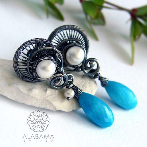 Greckie wakacje - srebrne kolczyki wire-wrapping z turkusem i perłami / Alabama / Biżuteria / Kolczyki