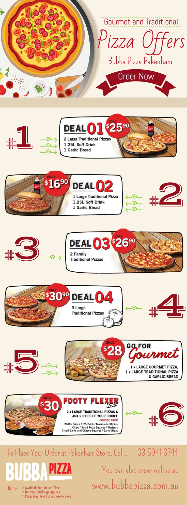 A Hot Pizza is the best thing in this chilly weather and the most important thing is that it can be delivered to your door, so what are you waiting for? Check out this infographic and get some gourmet and traditional #pizza offers! Contact your nearest Bubba pizza store to place your order.
