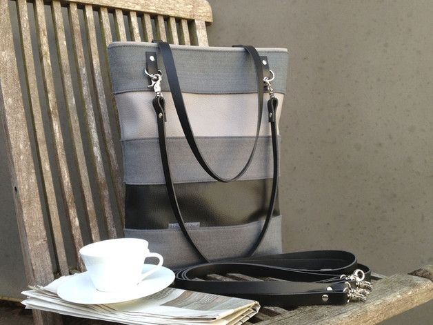 Edle Tasche, Shopper in Grau mit Streifen / classic shopper bag, grey with stripes made by TRAUMTASCHE - BAVARIA via DaWanda.com