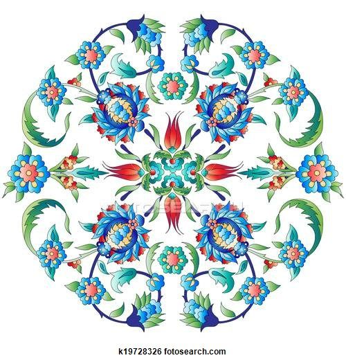 Clip Art of Ottoman art flowers twelve k19728326 - Search Clipart, Illustration Posters, Drawings, and EPS Vector Graphics Images - k19728326.eps