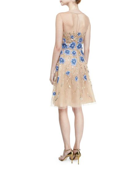 6f3e59faa34 Floral-Appliqué Illusion Cocktail Dress. Gold Blue Gold Cocktail Dress