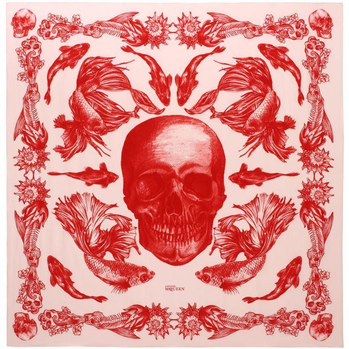 ALEXANDER MCQUEEN Fashion Scarves Aquatic Skull Print Scarf