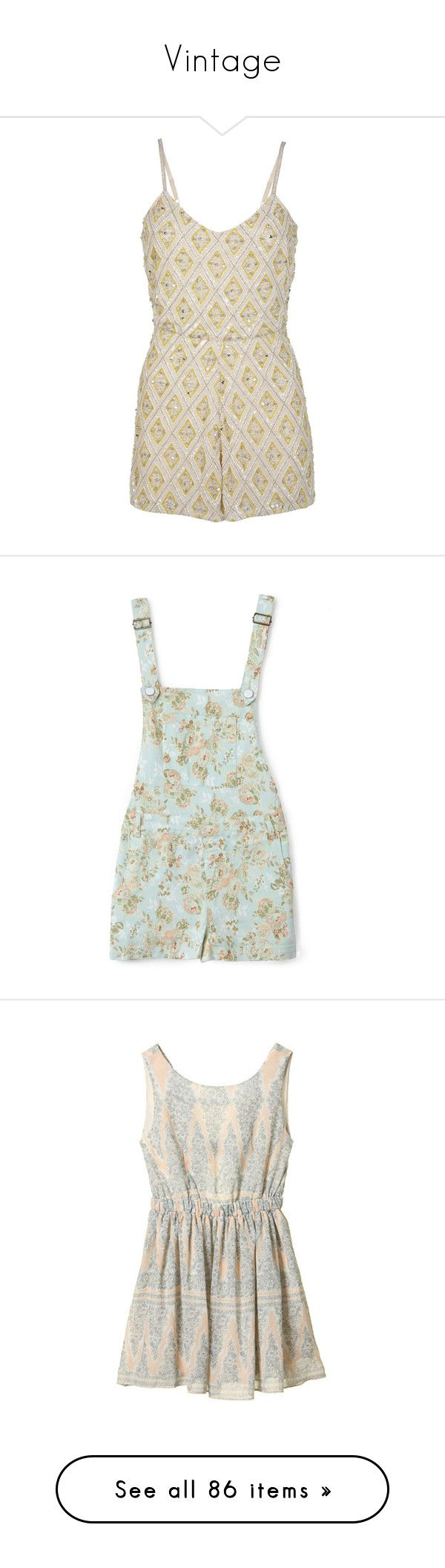 """Vintage"" by daisythings ❤ liked on Polyvore featuring jumpsuits, rompers, playsuits, petite, yellow, playsuit jumpsuit, embellished jumpsuit, yellow jumpsuit, yellow jump suit and playsuit romper"