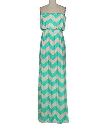 Another great find on #zulily! Mint & White Chevron Blouson Maxi Dress - Women #zulilyfinds
