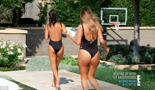 Peachy: Kourtney Kardashian and her pal Larsa Pippen showed off their incredible figures in skimpy one-pieces as their sunbathing session was interrupted by a tarantula invasion