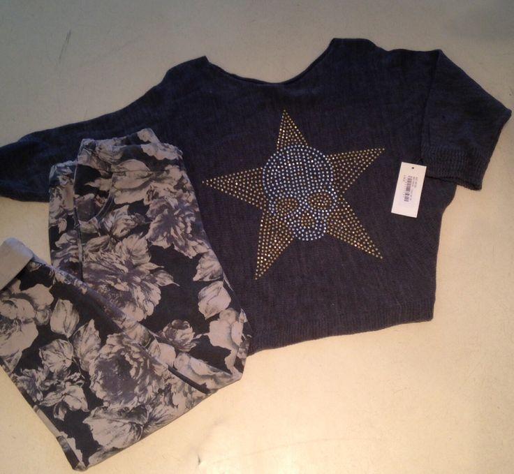 Floral track pants and skull star boxy top at Nicci