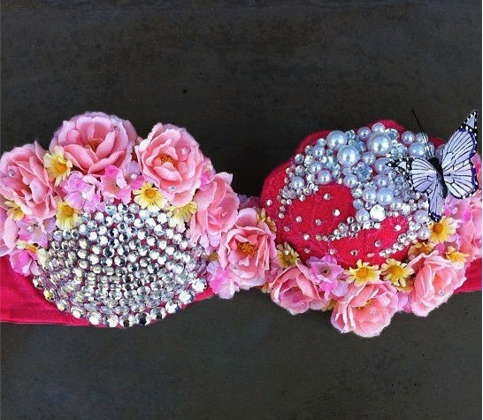 #EDC EDC bra with color changing butterfly by ElectricFantasies on Etsy, $85.00