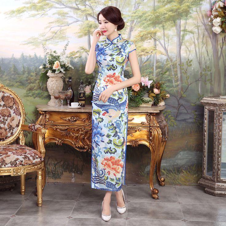 Azul Vestido De Seda Chinesa Tradicional Longo Cheongsam Qipao Vestidos de Casamento Qi Pao Robe Chinoise Estilo Oriental Asiático Mulheres Formais(China (Mainland))