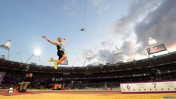 Greg Rutherford (GBR) competes in the long jump final and wins Britain's second athletics gold of the night.