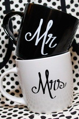 I SAW HIS & HERS MUGS AT WALMART*** Design a custom set of mugs: | 14 Easy And Inexpensive Wedding Gift Ideas