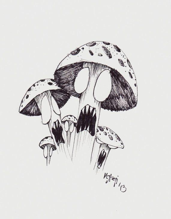 ... Mushroom Drawing on Pinterest | Drawings Trippy and Mushroom art