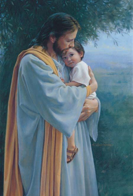 In Thy Tender Care - Jesus holding young child by artist Kathy Lawrence - A comfort to all who has lost a child, knowing they are in His loving arms.