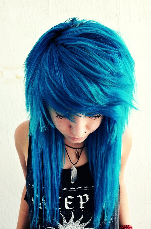Beautiful creative cobalt blue haircolor long hair alternative scene goth emo