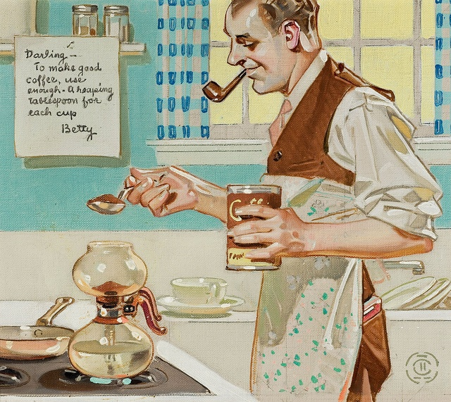 "note says: ""Darling, to make good coffee, use enough, a heaping tablespoon for each cup. Betty"""