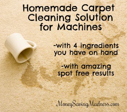 Easy Homemade Carpet Cleaning Solution for Machines HOT Water ~ 1 gallon of water 1 Tablespoon Dawn (or other dish soap) 1 1/2 Tablespoons White Vinegar 1/4 Cup 3% Peroxide  fill your machine's water reserve with HOT tap water,  as hot as you can get it from the tap. Leave space for the other ingredients. add 1 tablespoon Dawn dish soap after the water for no bubbles! I have not tried this yet.