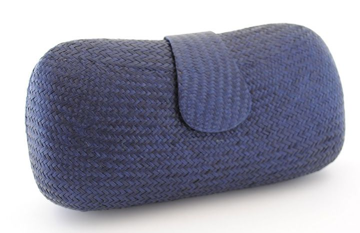 Straw Hard case Clutch bag by Mimu http:.mimunavy-blue ...