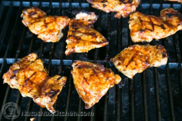 Bbq chicken thighs on the grill, sub olive oil for mayo