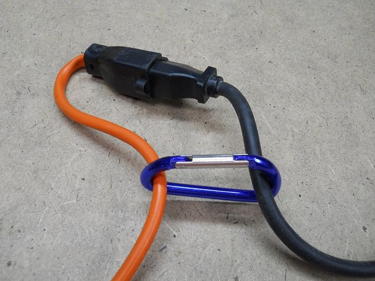 Various ways to keep a cord from coming unplugged from an extension cord.