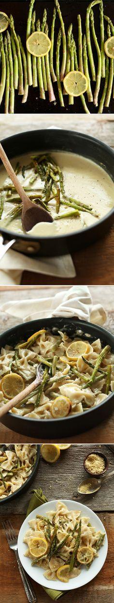 Vegan Lemon Asparagus Pasta! 30 minutes, 9 ingredients, SO creamy and delicious! #vegan