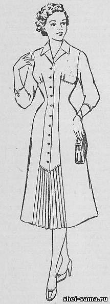 Шестишовное платье с проходным пластроном и подрезами от боковых швов