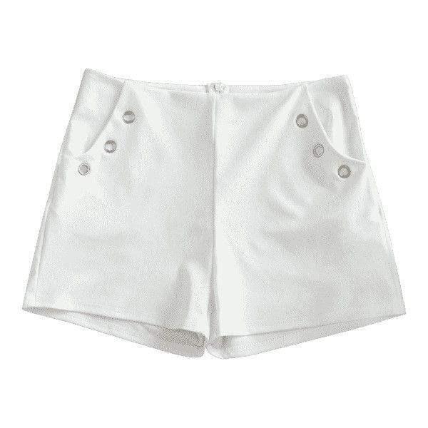 Metal Ring Embellished Pockets Shorts ($30) ❤ liked on Polyvore featuring shorts, zaful, embellished shorts, white shorts, pocket shorts and metal shorts