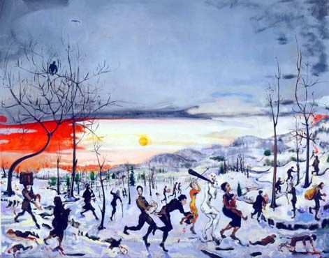 Verne Dawson Massacre of the Little People by the Big People, 2002 - 2003 Oil on canvas, 82 x 100 in