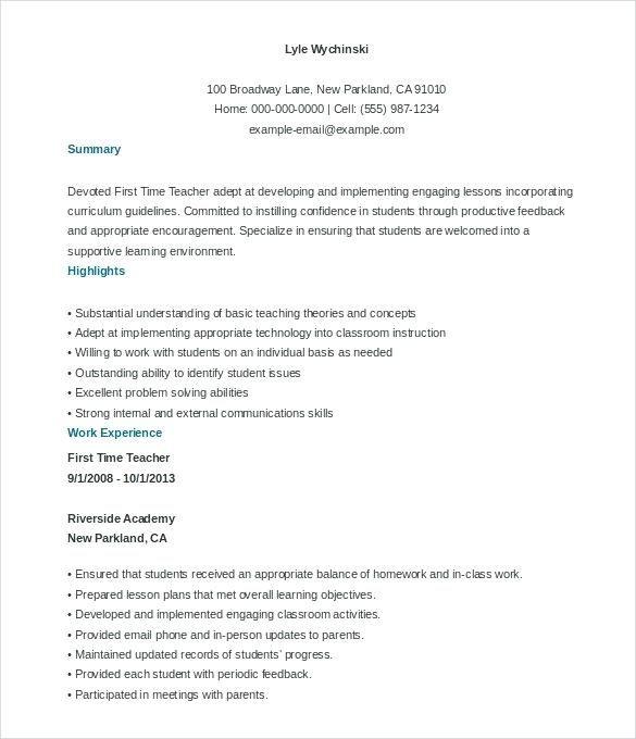Free Resume Templates For Teachers Teacher Resume Template