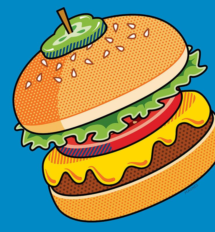 Pop Art Digital Art - Cheeseburger On Blue by Ron Magnes