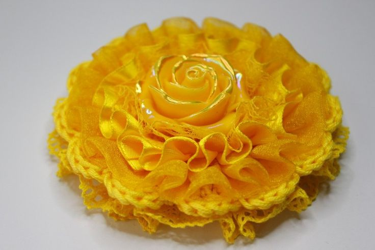 Yellow crochet lace rose Brooch from From Lucky Lonny With Love by DaWanda.com