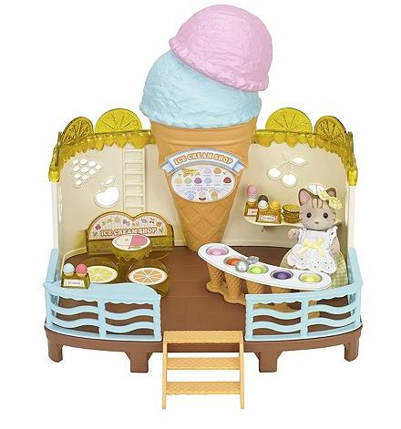 Expand their Calico Critters townscape with this Seaside Ice Cream Shop. PRODUCT FEATURES - Over 30 pieces including Sandra Sandy Cat, spinning ice cream scoops hideaway, counter with ice cream in a v