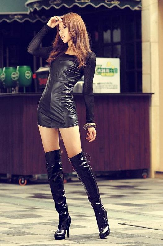 asian babes leather skirts