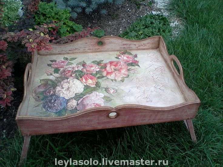 """Купить столик для завтрака в постель цветочный """"красивые розы"""" - чайный столик, Декупаж, художественный декупаж"""