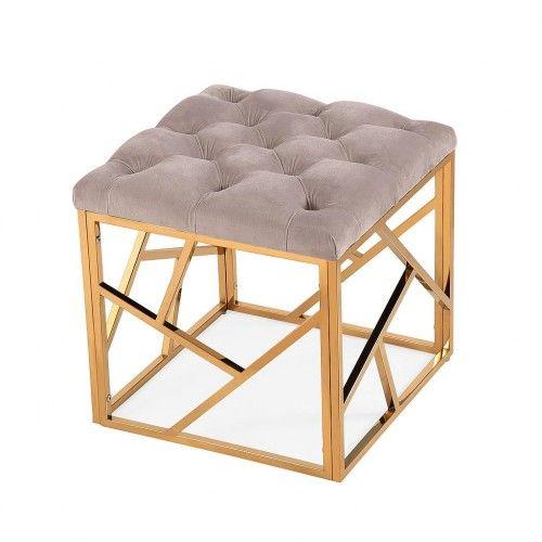 Light Grey Velvet & Gold Ottoman Footstool