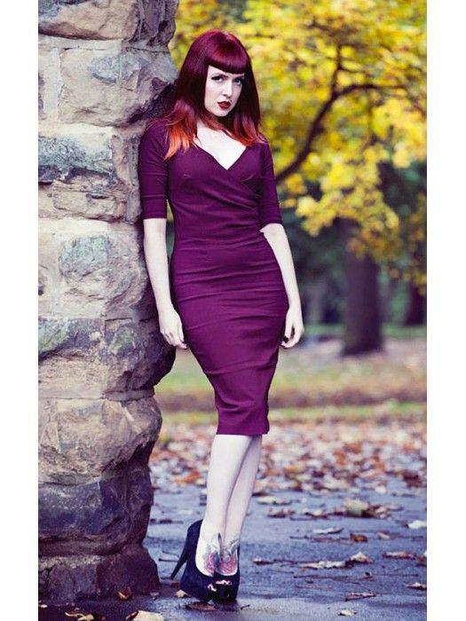 Recoco Rock Purple Olivia Pinup Wiggle Dress
