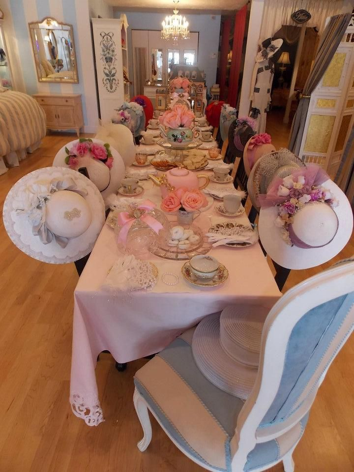 """tea party table with hats to wear -- cute idea for """"girls"""" (big or little!!) get together, shower, birthday.:"""