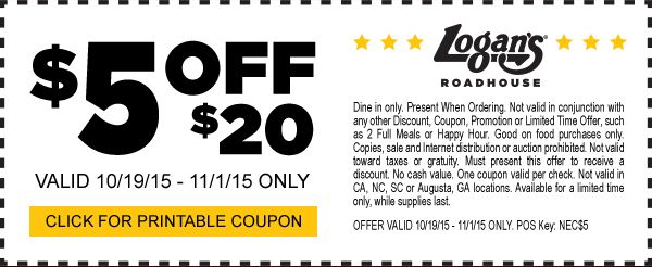 Pinned October 19th: $5 off $20 at Logans #Roadhouse restaurants #coupon via The #Coupons App