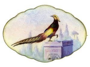 Emaljebrosje i sølv (925) av Gustav Gaudernack, fra ca 1910-1920.