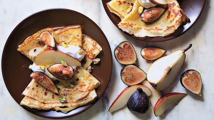 Cornmeal Crepes with Figs and Pears Recipe   Bon Appetit