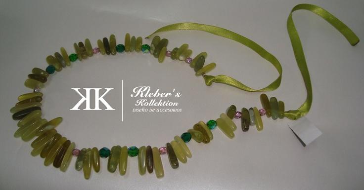 green organic stone necklace