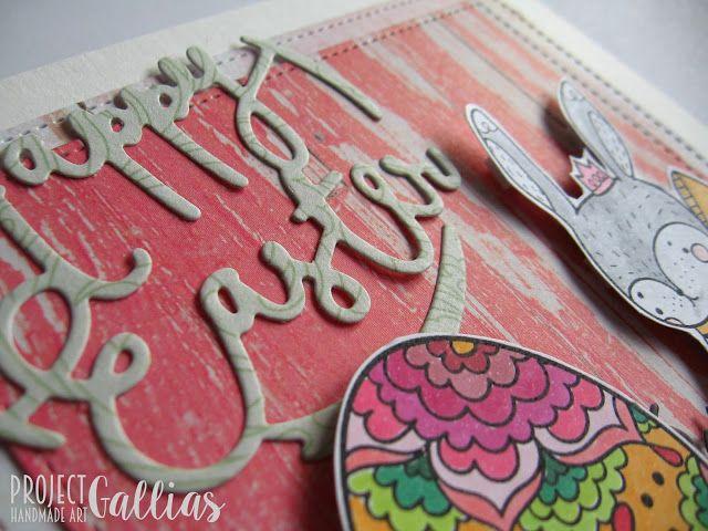 ProjectGallias:#projectgallias easter handmade card with bunny and easter egg, wielkanocna kartka z zajączkiem i jajem, pisanka. Handmade and coloured with copic markers