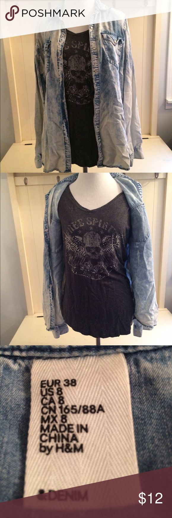 H&M denim shirt with Rock&Republic Tshirt medium H&M acid washed denim shirt sz 8 with Rock&Rebublic bling tshirt sz Medium. Two for the price of one! H&M/Rock&Republic Tops