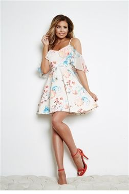 Jessica Wright Clara Cream Floral  Cold Shoulder Skater Dress from the Sistaglam Occasion Wear and Wedding Collecton £65.00