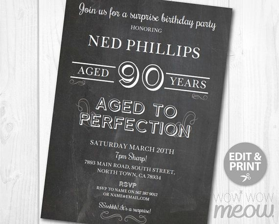 ages to perfection surprise 90th birthday invitations ninety invite chalk party instant download