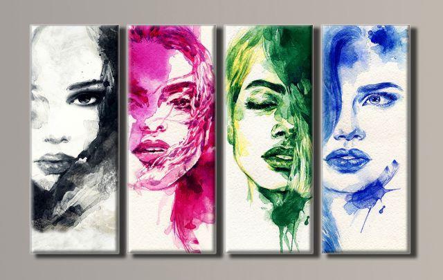 Картина модульная (62х102 см.) - Портреты девушек, Арт. HAF-035